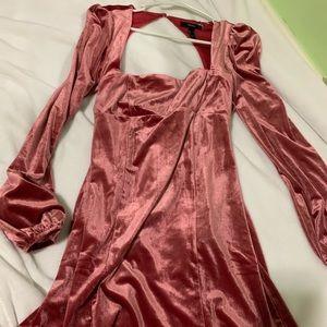 Square neck velvet dress